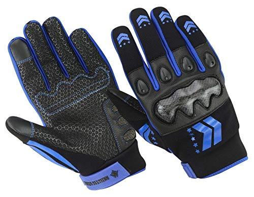 North Skin NS106 - Guantes de piel auténtica para motociclismo, Unisex adulto, color azul, tamaño small