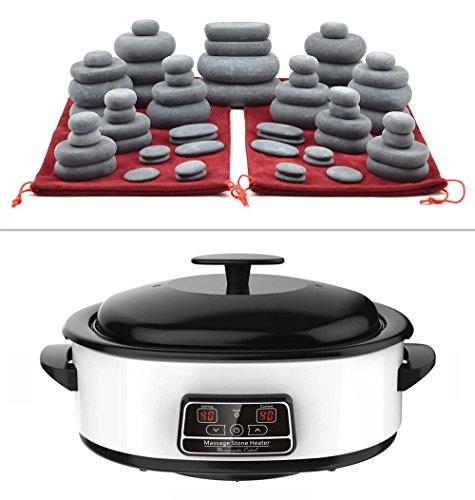 MassageMaster HOT Stone Massage KIT: 60 Basalt Stones (in 2 Drawstring...