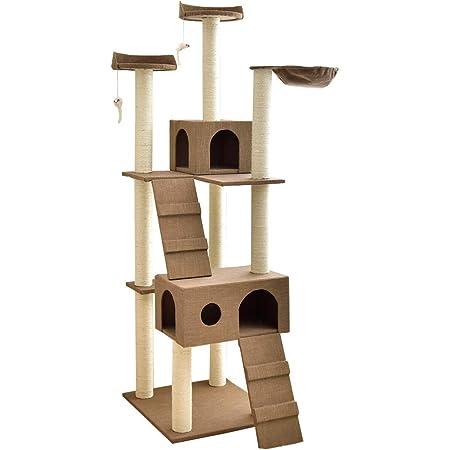 タンスのゲン キャットタワー 190cm 据え置き 支柱4本 猫タワー 置き型 爪研ぎ 麻紐 ファブリック ブラウン 40900002 01 【60838】