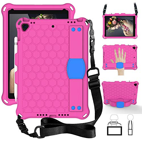 SsHhUu iPad 7th Gen 10.2' 2019 / iPad Air 3 10.5' / iPad Pro 10.5' Case for Kids, Shockproof Light Weight Kids Friendly Cover with Pencil Holder, Shoulder Strap for iPad 10.2 Inch - Rose/Blue