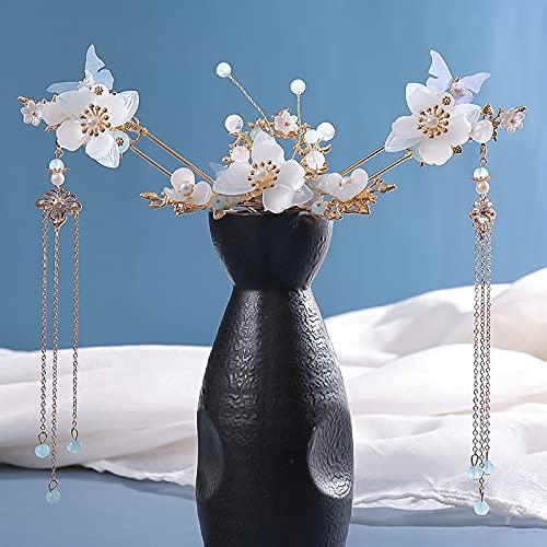 Xuefang Conjunto de tocado largo con flecos con diseño de flor pendiente hecho a mano estilo chino tradicional Hanfu accesorios