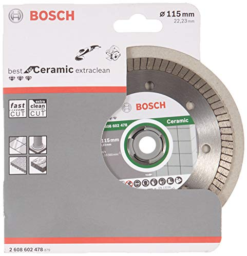 Bosch Professional - Disco de corte de diamante Best for Ceramic Extra-Clean Turbo, 115 x 22.23 x 1.4 x 7 mm