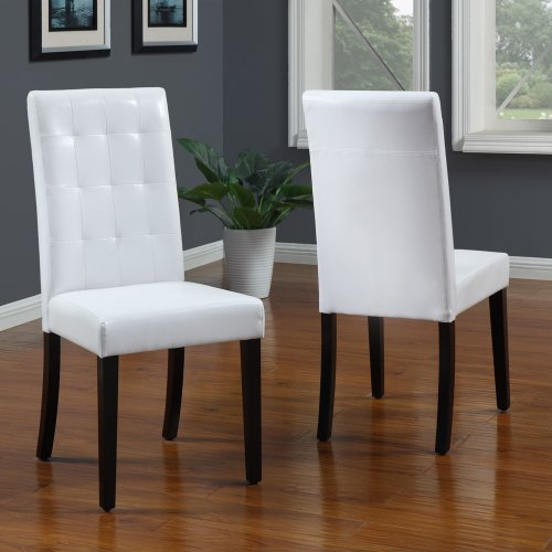 - Modus Furniture 2E0366BT Urban Seating Tufted Parsons Chairs, White Leatherette (Set of 2 Chairs)