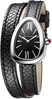Serpenti Black Dial Ladies Double Wrap Leather Watch 102782