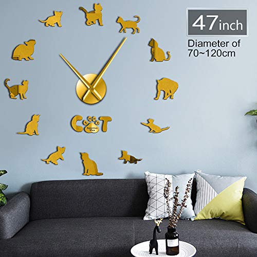 GUDOJK Drôle Egyptien Mau Cat Graphique 3D DIY Horloge Murale Chaton Race Animal Mirror Surface Acrylique Horloge Montre Pet Shop Décoration Murale