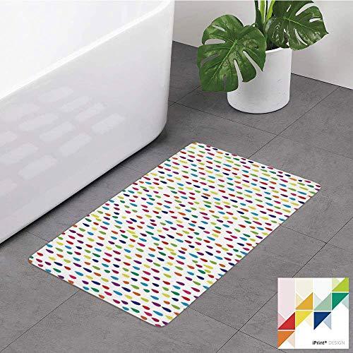 D-M-L Alfombrilla de baño, Lluvia, Patrón de Gotas de Lluvia de Colores del Arco Iris como Formas de Puntos Que Caen en Blanco, Alfombras de baño Antideslizantes de Goma 40X60cm