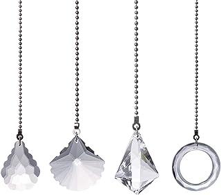 4 stuks heldere kristallen trekkettingverlenging, plafondlamp, ventilatorketting, lichtketting met kogelketting, plafondve...