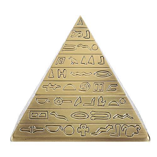 BIKING Cenicero Personalizado, Cenicero de Metal con Tapa Adornos de Oficina Retro Regalos para Fumar Forma de pirámides egipcias(Bronce)