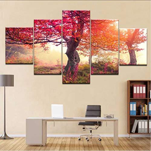 cmhai HD Print 5 Panel Canvas Tree Sunset Scenery Quadri Modulari Quadri sul Muro Quadri Murali Componibili per Soggiorno Decor Nessuna Cornice