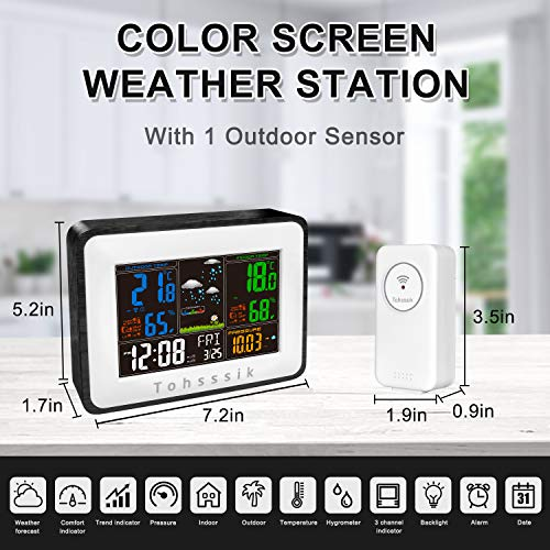 Weather Station, Rechargeable Weather Stations Wireless Indoor Outdoor Thermometer Hygrometer, with Color Screen, Weather Forecast, Alarm Clock, Temperature Alarm, Adjustable Bright(with 1 Sensor)