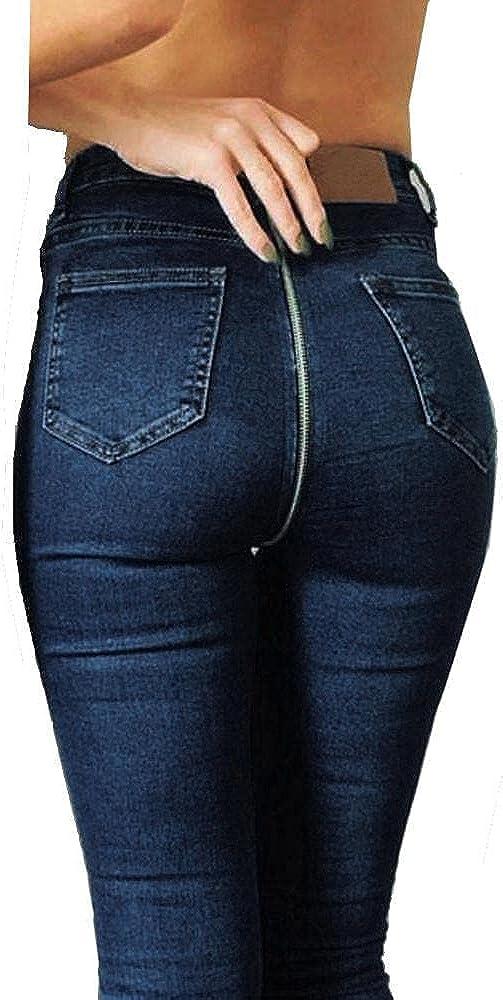 YUNDAN Womens High Waist Jeans Sexy Back Zipper Butt Lifting Denim Pants Washed Blue Stretch Slim Fit Pencil Trousers