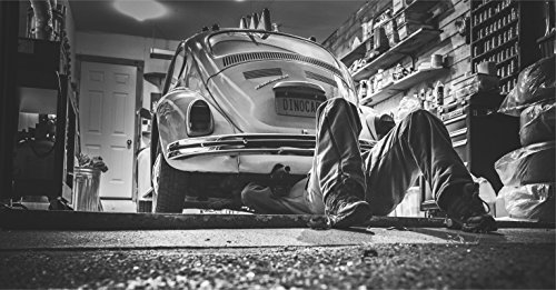 Wandbild 155x90cm VW Käfer Fototapete Poster XXL Reparatur Werkstatt Auto Garage WA124