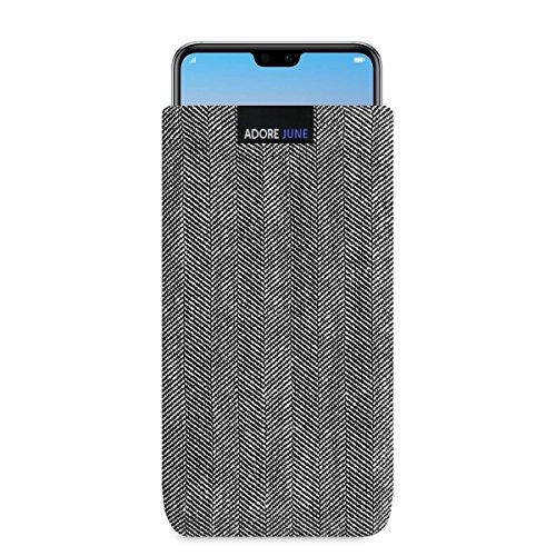 Adore June Business Tasche für Huawei P20 Pro Handytasche aus charakteristischem Fischgrat Stoff - Grau/Schwarz | Schutztasche Zubehör mit Bildschirm Reinigungs-Effekt | Made in Europe