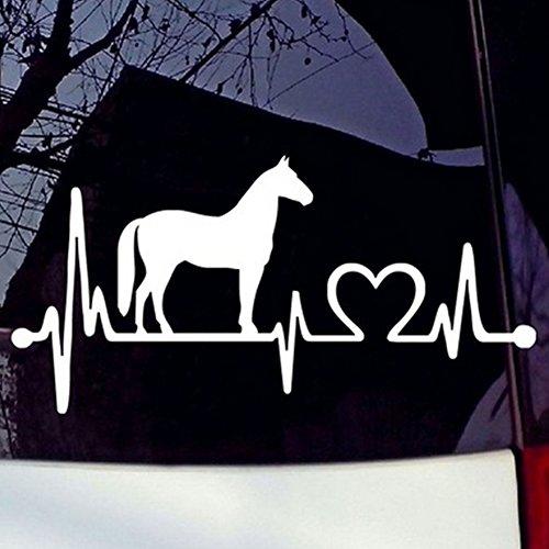 Sedeta® Auto Aufkleber White Horse Cartoon Elektrokardiogramm Autos Fenster Kunststoff-Aufkleber-Abziehbilder Dekoration