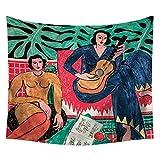 TESSKy Aceite clásico tapicería de la pared la pintura del fondo de paredes Home restaurante Hotel Mantel de tela for Fotografía cabecera del dormitorio principal Cortina Imagen ( tamaño : 130*150cm )