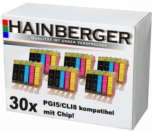 30 Druckerpatronen mit Chip für Canon Pixma IP-4200, IP-4300, IP-5200, IP-4500, IP-5200R, IP-5300, MP-500, MP-510, MP-530, MP-600, MP-600R, MP-800, MP-800R, MP-810, MP-830, ersetzt PGI-5 und CLI-8