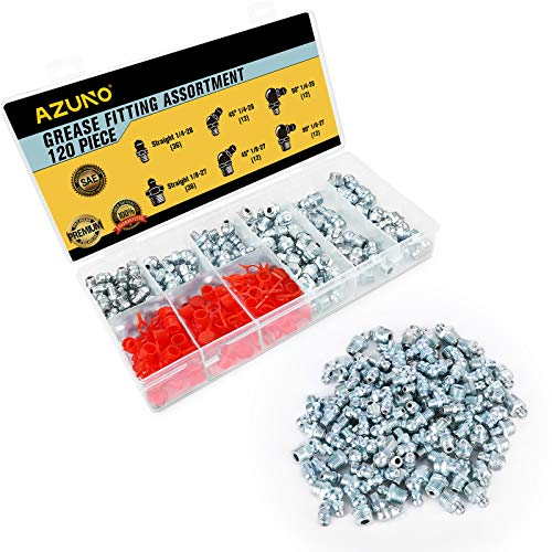 AZUNO Hydraulic Grease Fittings, 120 Pieces SAE Grease Fitting Assortment with 60 PCS Grease Fitting Caps, Standard Grease Gun Fittings Perfect for Replacing Missing or Broken Zerk Fitting