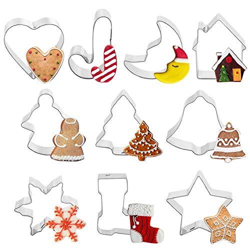 Yuson Girl Formine Biscotti Natale Acciaio Inox Stampi Biscotti DIY Decorazioni Dolci Dolci Pasta Zucchero Albero di Natale, Fiocco di Neve, Campana, Pupazzo di Neve