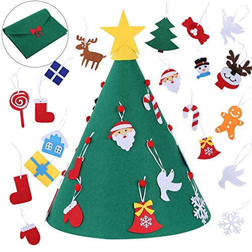Felt Christmas Tree 3D DIY Christmas Tree with Ornaments Xmas Gifts for Kids Christmas Decorations Children's Christmas Tree Sticker (Green)