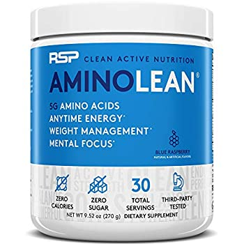 RSP AminoLean - All-in-One Pre Workout Amino Energy Weight Management Supplement with Amino Acids Complete Preworkout Energy for Men & Women Blue Raspberry 30