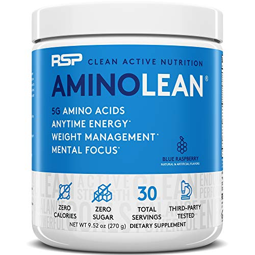 RSP AminoLean - All-in-One Pre Workout, Amino Energy, Weight Management Supplement with Amino Acids, Complete Preworkout Energy for Men & Women (Blue Raspberry, 30 Serv)
