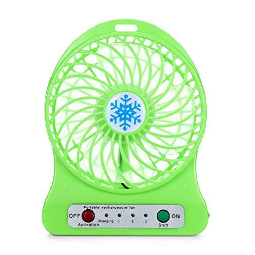 Sommer Ventilator FORH Mini Desktop USB Personal Fan Aufladbarer Batterie Lüfter Kraftvoller und geräuscharmer Turbo-Ventilator Beweglicher 3 einstellbare Geschwindigkeiten Tischventilator (Grün)