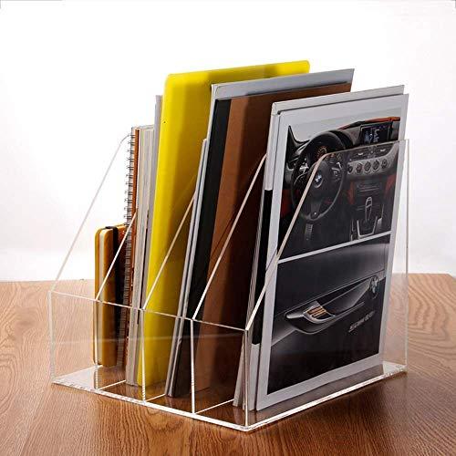 Zhuomianshujia Carpeta Caja de almacenamiento Caja de almacenamiento Bookshelf Transparent Four Grid File Bar Barra de cuatro columnas Canasta ordenada Ambiente de alta gama Estantería de escritorio A