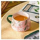 Taza De Café Taza de cerámica pintada a mano con patrón clásico verano taza de café estilo fresco taza de agua con tapa...