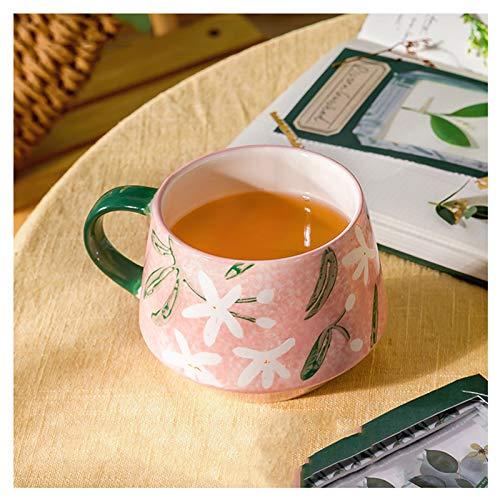 FEIYIYANG Tazas Taza de cerámica Pintada a Mano con patrón clásico Verano Taza de café Estilo Fresco Taza de Agua con Tapa de látigo Taza de Leche 480ml, colección Taza (Color : Pink)