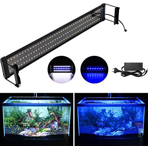 DOCEAN Luz Led Acuario, Iluminación LED para Acuarios Lámpara para Peceras SMD 5050, Luz blanca y luz azul, 26W para 72cm-94cm Peceras