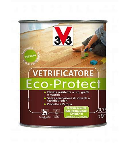 V33 Vetrificatore Per Parquet Eco-Protect H2o, Incolore, Resistente Agli Urti Brillante 750 Ml