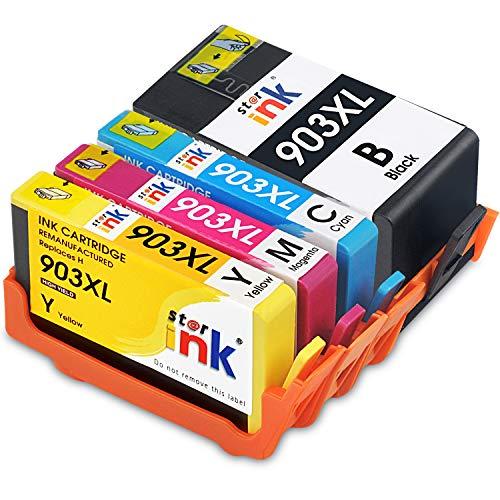 Starink 4 Pack Kompatibel für HP 903 XL 903XL Druckerpatronen für HP OfficeJet 6950 HP OfficeJet Pro 6960 6970 Patronen All-in-One-Drucker (Schwarz/Cyan/Magenta/Gelb)