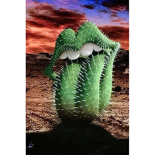 Desierto abstracto divertido verde cactus lengua carteles e impresiones pinturas en lienzo cuadros de arte de pared para la decoración de la sala de estar sin marco-50x70cm