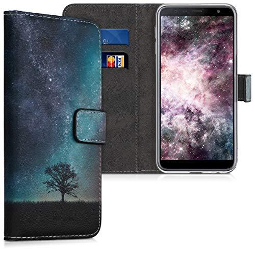 kwmobile Wallet Hülle kompatibel mit Samsung Galaxy J6+ / J6 Plus DUOS - Hülle Kunstleder mit Kartenfächern Stand Galaxie Baum Wiese Blau Grau Schwarz