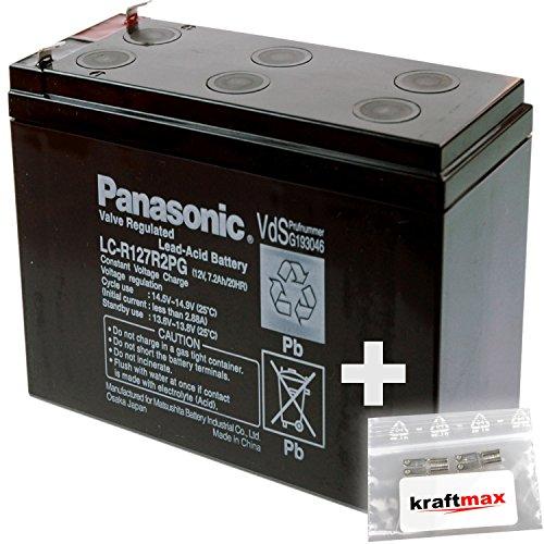 1x Panasonic 12V / 7,2Ah AGM Blei-Akku - LC-R127R2PG [ Faston 4,8 ] VdS geprüft - inkl. 2x Original Kraftmax Anschluß-Adapter