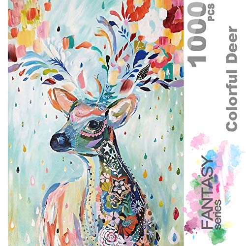 InGooooD -ジグソーパズル 1000 絵画 花雨が虹色の鹿-木製パズル 大人 向け(6歳以上が適しています)