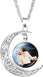 Crafting Mania LLC. 1 Michael Jackson Crescent Moon Pendant Necklace #3 with Glass Dome for Gift