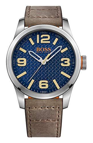 Hugo Boss Orange Herren Analog Quarz Armbanduhr mit Lederarmband