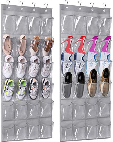 MISSLO Over The Door Hanging Shoe Organizer 24 Large Clear pvc Pockets Shoe Storage Hanging product image