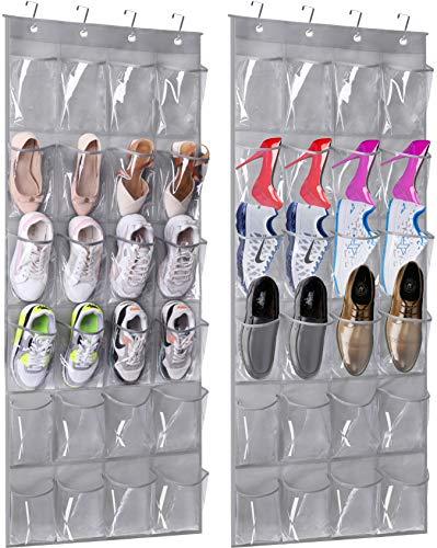 MISSLO Over The Door Hanging Shoe Organizer 24 Large Clear pvc Pockets Shoe Storage Hanging Shoe Holder 2 Packs Gray