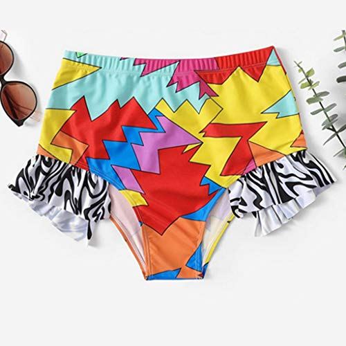 KPILP Womens Swimsuit Two Piece Bikini Set Bandeau Swim Trunks Suit Swimwear Boho Funny Fashion 3D Print High Waisted Bathing Suit Plus Size Swimming Costume(Red,S)