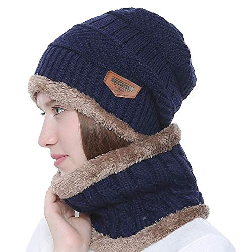 Handcuffs Winter Beanie Hat Scarf Set 2-Pieces Warm Knit Hat Thick Fleece Lined Winter Hat & Scarf for Men Women (Blue)