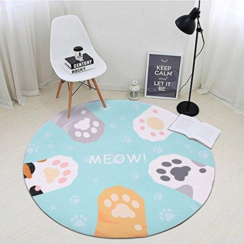 Good thing tapis Cartoon Chat Catch Enfants Ronde Tapis Chambre Chevet Salon Table Basse Maison Épaississement Ordinateur Chaise Tapis Ramper Tapis (taille : Diamètre 60cm)
