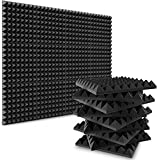 Acoustic Foam Panels, 2' X 12' X 12' Soundproof Foam Sound Absorption with High Density, Pyramid DIY Shape Soundproof Wall Panels to Absorb Noise and Eliminate Echoes for Studio, Home (Set of 6)