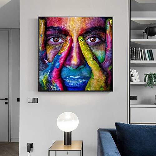 KWzEQ Leinwanddrucke Bunte Gesichter Wandkunst Poster und Bilder für Wohnzimmer60x60cmRahmenlose Malerei