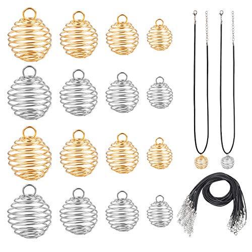 PandaHall 48 unidades de 4 tamaños de jaulas de cuentas de hierro en espiral con 24 cuerdas de cuero para collares, pendientes, joyería, fabricación y manualidades, 9 mm/15 mm/25 mm/30 mm