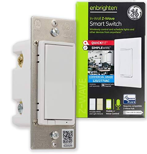 GE Enbrighten Z-Wave Plus Smart Light Switch, QuickFit & SimpleWire, Commercial 120/277VAC, Works with Alexa, Google Assistant, ZWave Hub & Neutral Wire Required, White & Light Almond, 43072