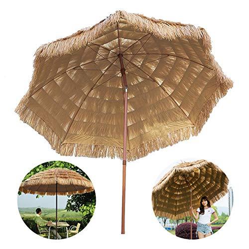 8'/2.4cm Beach Patio Garden Hawaii parasol umbrella,Thatch Tiki party Umbrella,Sunshade Folding Tilting Portable Waterproof Sun Umbrella Store park Campin Market Umbrella