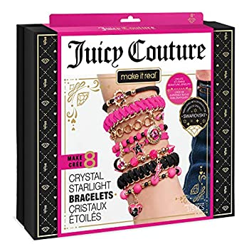Make It Real – Juicy Couture Crystal Starlight Bracelets - DIY Charm Bracelet Kit for Teen Girls - Jewelry Making Supplies with Beads and Charms with Swarovski Crystals