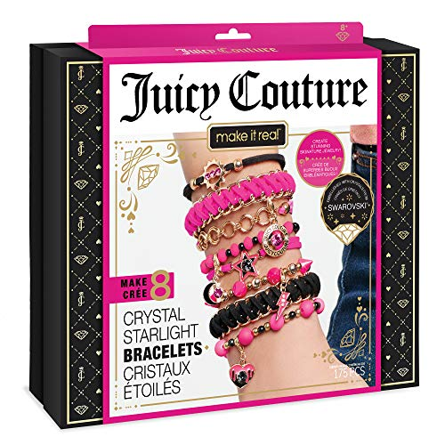 Make It Real  Juicy Couture Crystal Starlight Bracelets - DIY Charm Bracelet Kit for Teen Girls - Jewelry Making Supplies with Beads and Charms with Swarovski Crystals